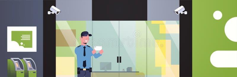 Selfie mantaking del guardia de seguridad distraído en el negocio de la puerta de entrada del lugar de trabajo que construye vigi ilustración del vector