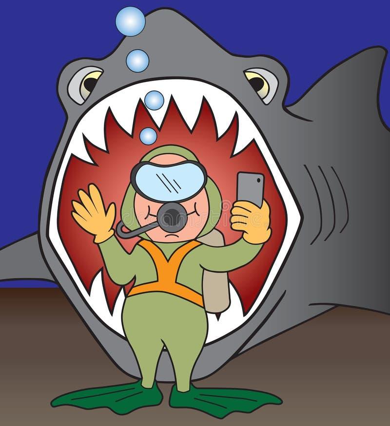 Selfie med hajen stock illustrationer