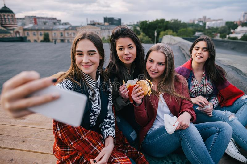 Selfie in meeting close friends, close up stock photography