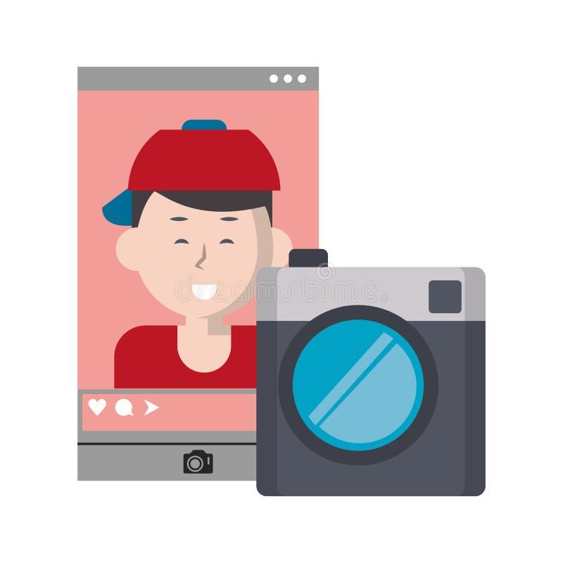 Selfie milenario en la pantalla social del smartphone de la red ilustración del vector