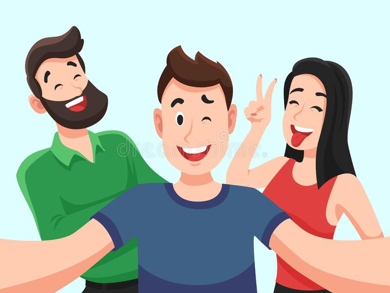 Selfie mit Freunden Freundliche lächelnde Jugendliche, die Gruppenfotoporträt machen Fotografierte Vektorkarikatur der glückliche lizenzfreie abbildung