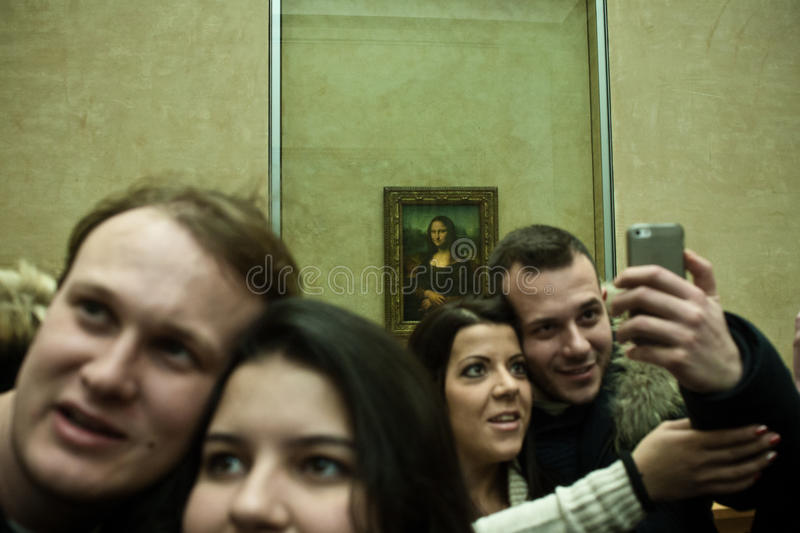 Selfie Mona Lisa stockfotos
