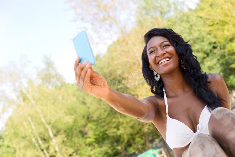 Selfie na praia imagens de stock