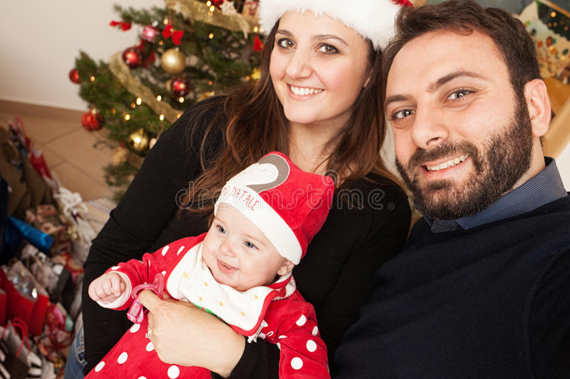 Selfie of newborn baby girl with his mom and daddy. royalty free stock photos