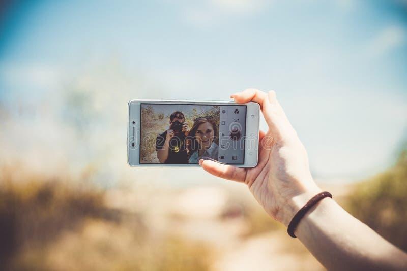 Selfie op een telefoon royalty-vrije stock afbeelding
