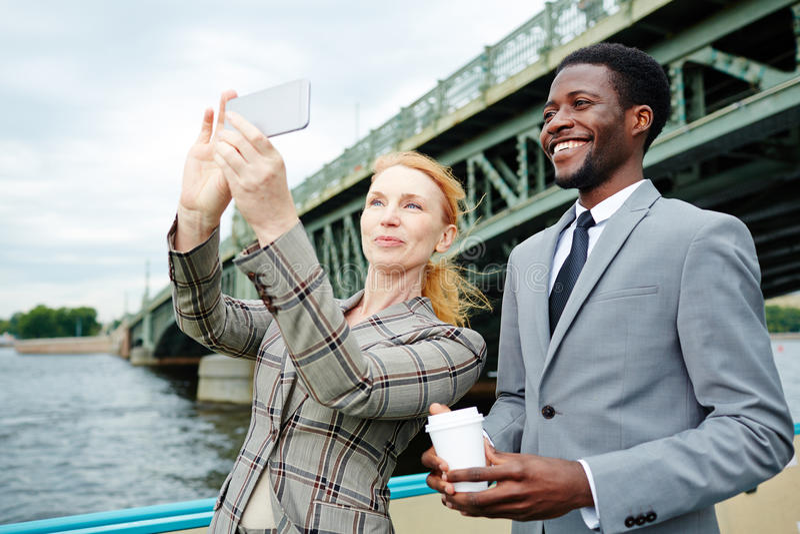 Selfie op stoomboot royalty-vrije stock afbeeldingen