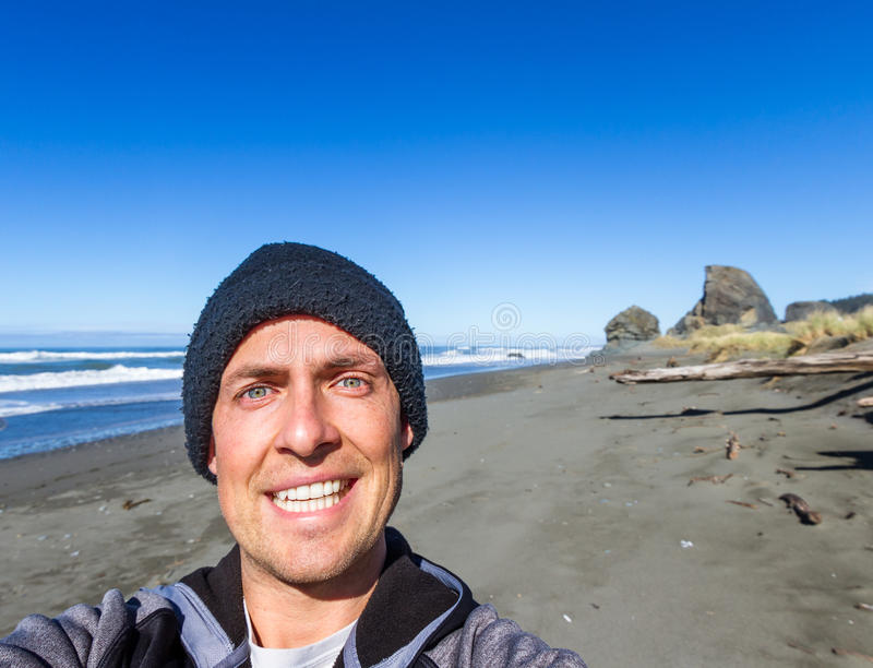 Selfie in the Oregon Coast royalty free stock photos