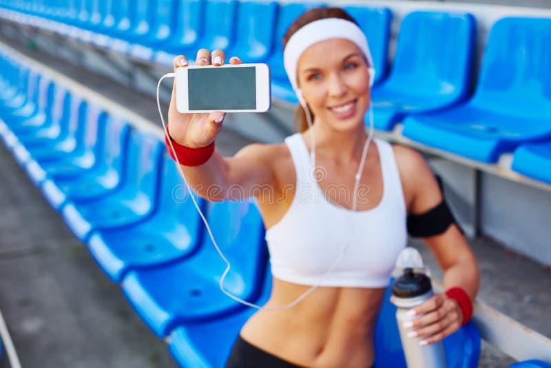Selfie på stadion arkivfoton