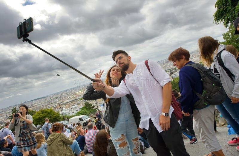 Selfie in Parijs stock afbeelding