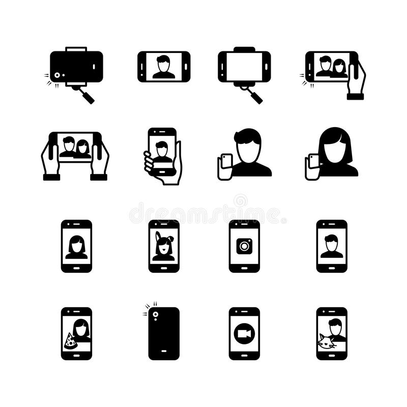 Selfie, persoon met mobiele telefoon die foto nemen zwart silhouet vectorpictogrammen royalty-vrije illustratie