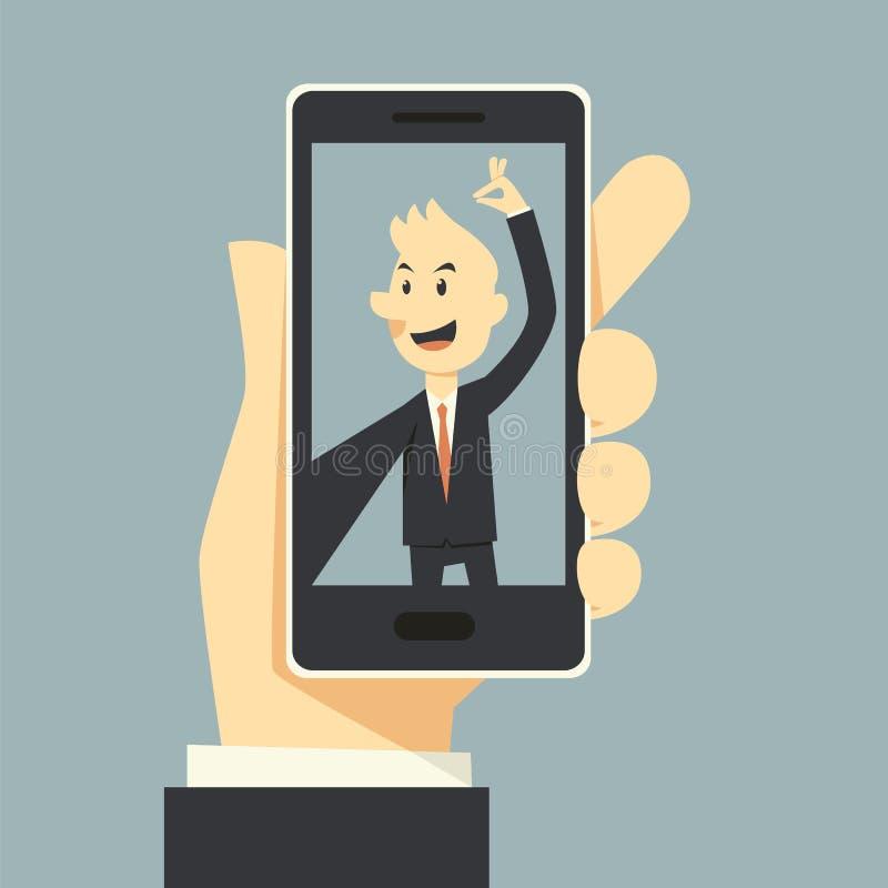 Selfie phot. Business man taking selfie phot stock illustration