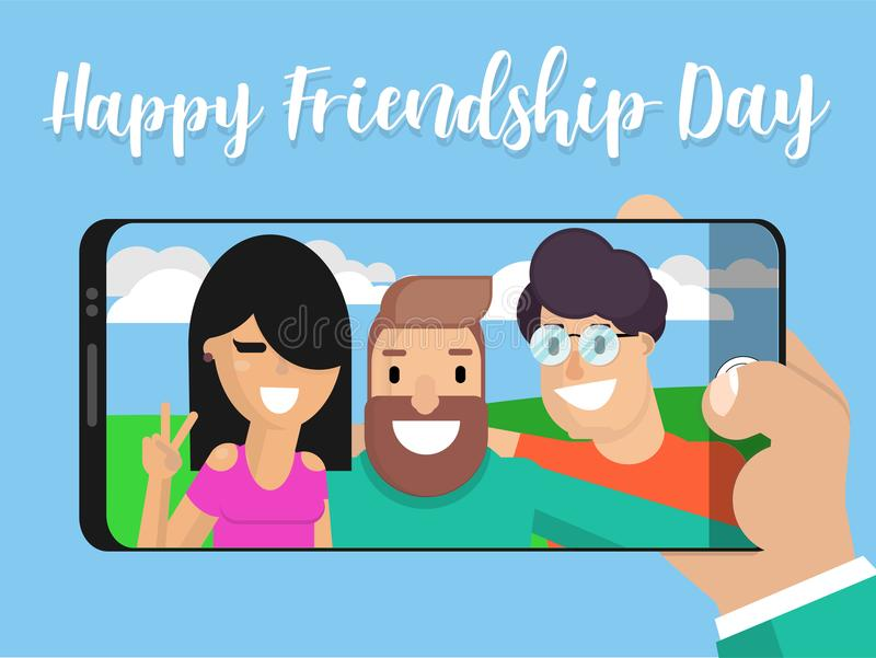 Selfie photo of friends against a background. Of nature in a flat style. Concept friendship day. Vector illustration portrait on phone screen. Company photo stock illustration