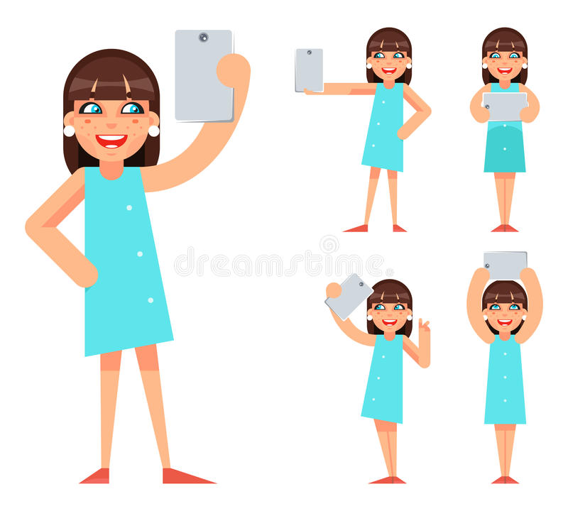 Selfie Photo Portrait Cute Young Girl Geek Hipster Smartphone Casual Lifestyle Character Icons Cartoon Flat Design. Selfie Photo Portrait Cute Young Girl Geek stock illustration