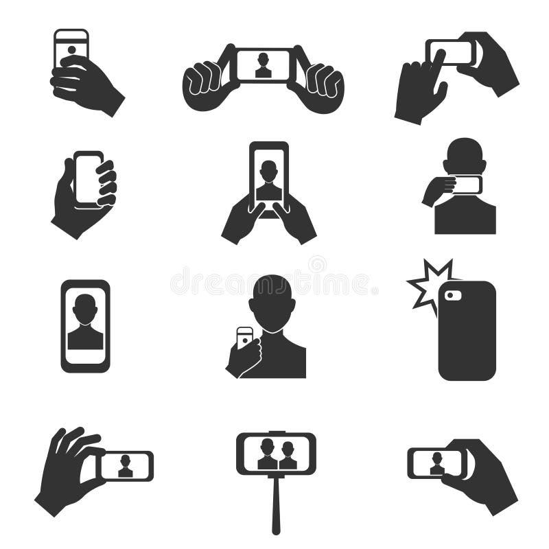 Selfie photo vector icons set stock illustration