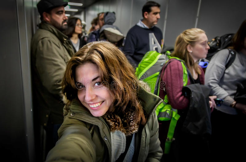 Selfie at the Plane Boarding stock photos