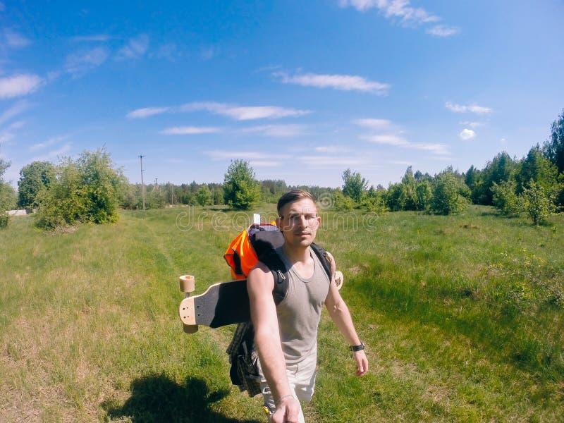 Selfie podróżnik, natura spacer obraz stock