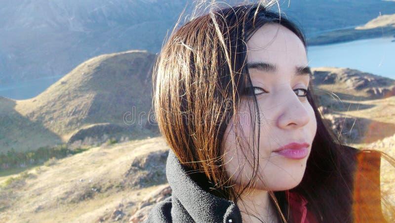 Selfie Portrait in landscape stock photos