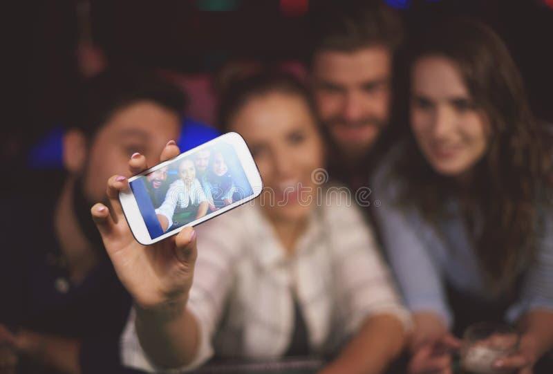 Selfie in the pub stock image