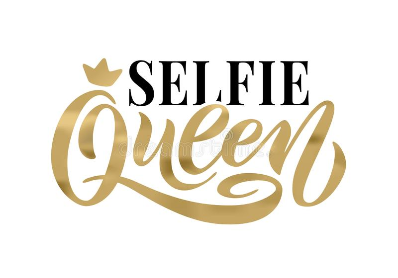 Selfie queen word with crown. Hand lettering text vector illustration vector illustration
