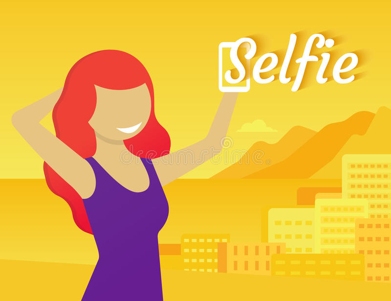 Selfie. Of redhead sensual girl on yellow styled background. Flat modern illustration stock illustration