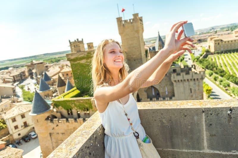 Selfie am Schloss lizenzfreies stockbild