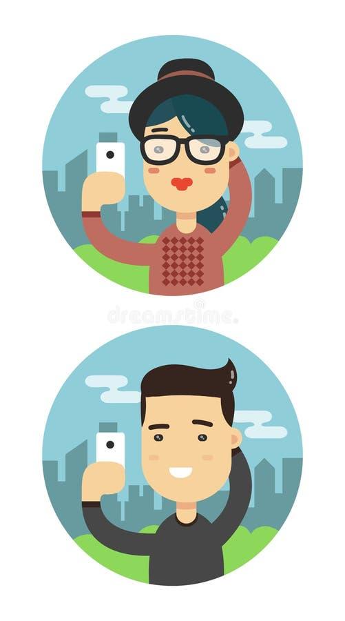 Selfie shot man and woman flat illustration. Vector taking a selfie people royalty free illustration
