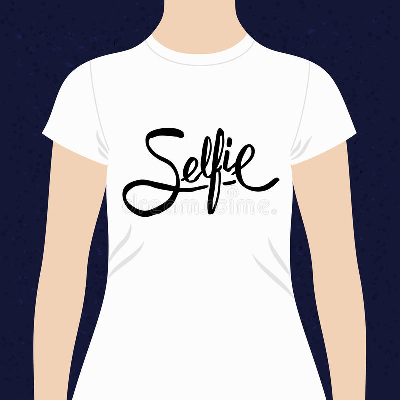 Selfie simple text design for a t-shirt stock illustration