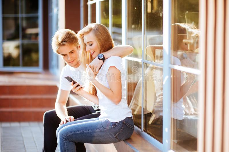 Selfie with Smartphone, Happy Young Couple royalty free stock photography