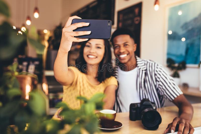 Selfie for social media post royalty free stock image