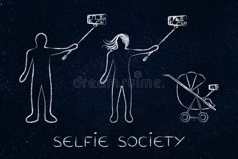 Selfie society people taking self-portraits vector illustration