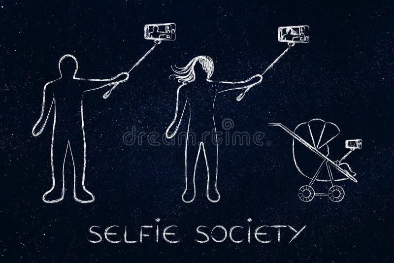 Selfie społeczeństwa ludzie bierze autoportrety ilustracja wektor