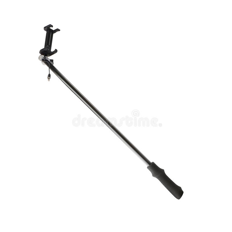 Selfie stick with an adjustable clamp on the end. On white background stock photo