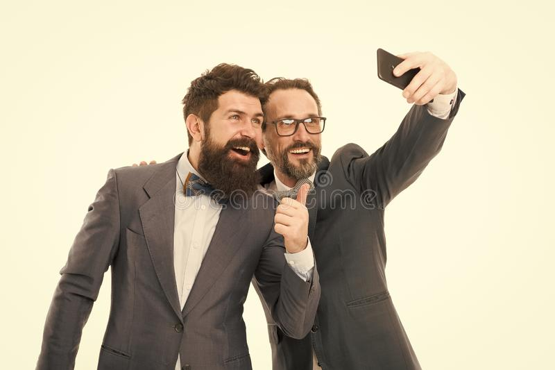 Selfie of successful friends. Men successful entrepreneurs on white background. Join our business team. Business people royalty free stock photos