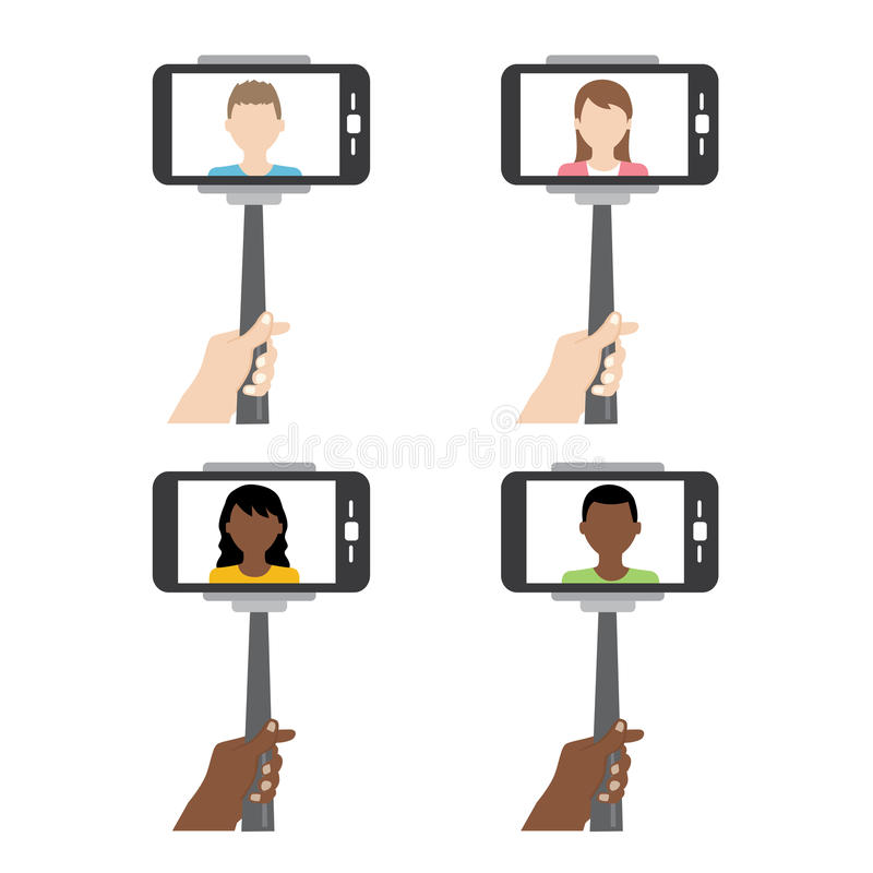 Selfie sullo smartphone facendo uso del bastone del selfie o di monopiede illustrazione vettoriale