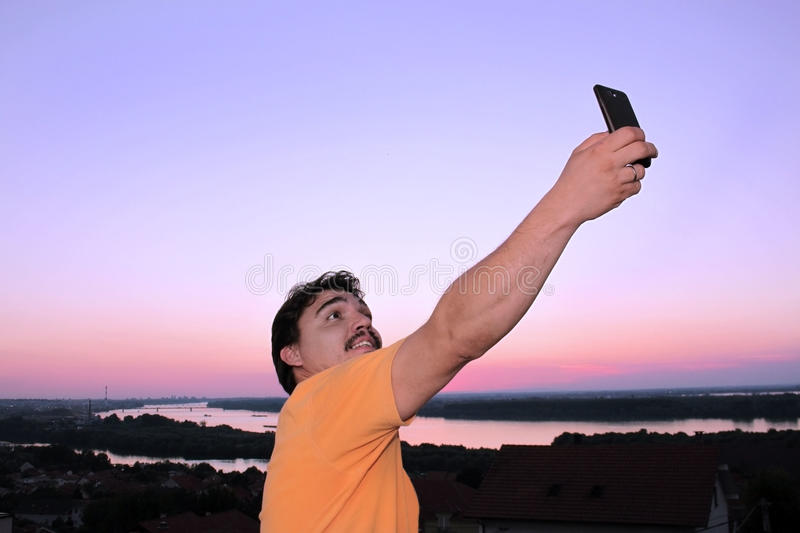 Selfie with sunset royalty free stock photo
