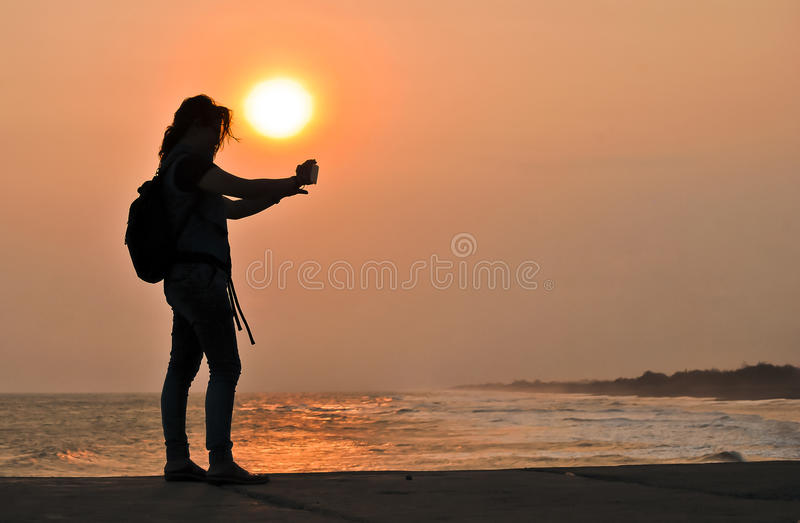 Selfie with sunset stock images