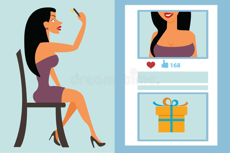 Download Selfie, Taking Self Photo For Social Networking Stock Illustration  - Illustration of boobs,