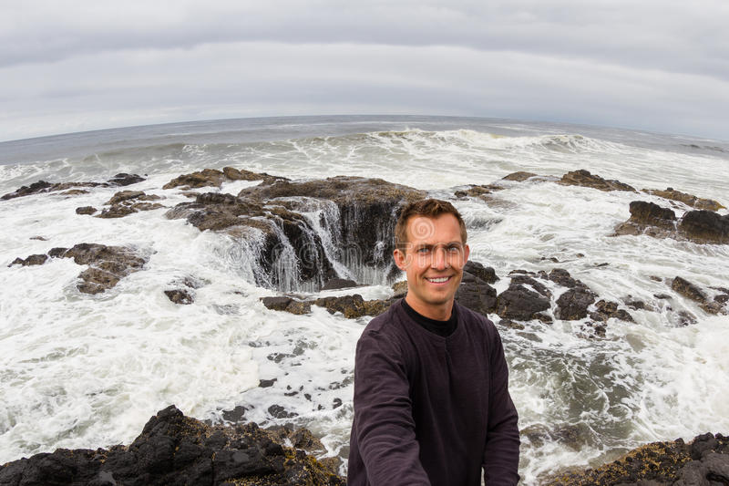 Selfie at Thor's Well royalty free stock images