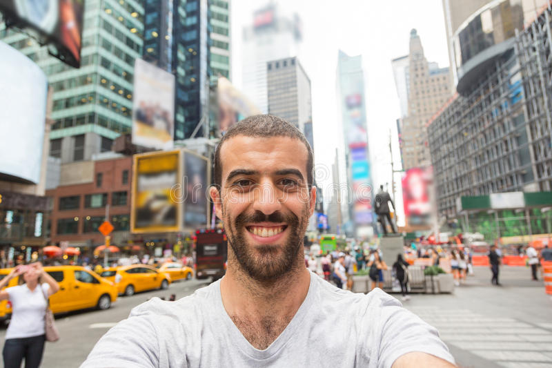 Selfie in Times Square immagine stock