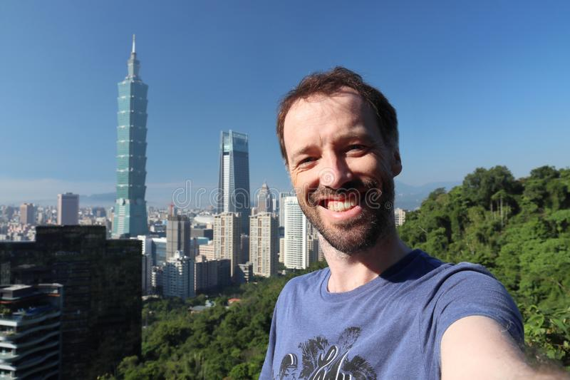 Selfie turistico di Taipei fotografia stock libera da diritti