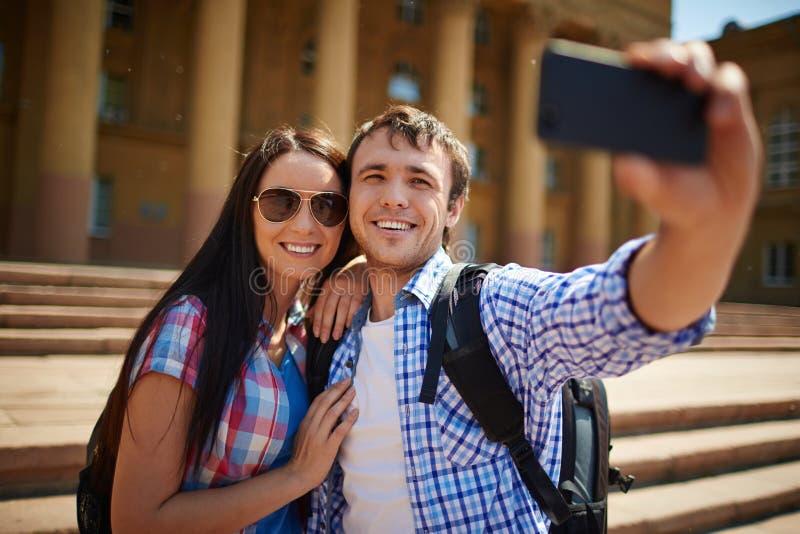 Selfie van paar royalty-vrije stock afbeeldingen