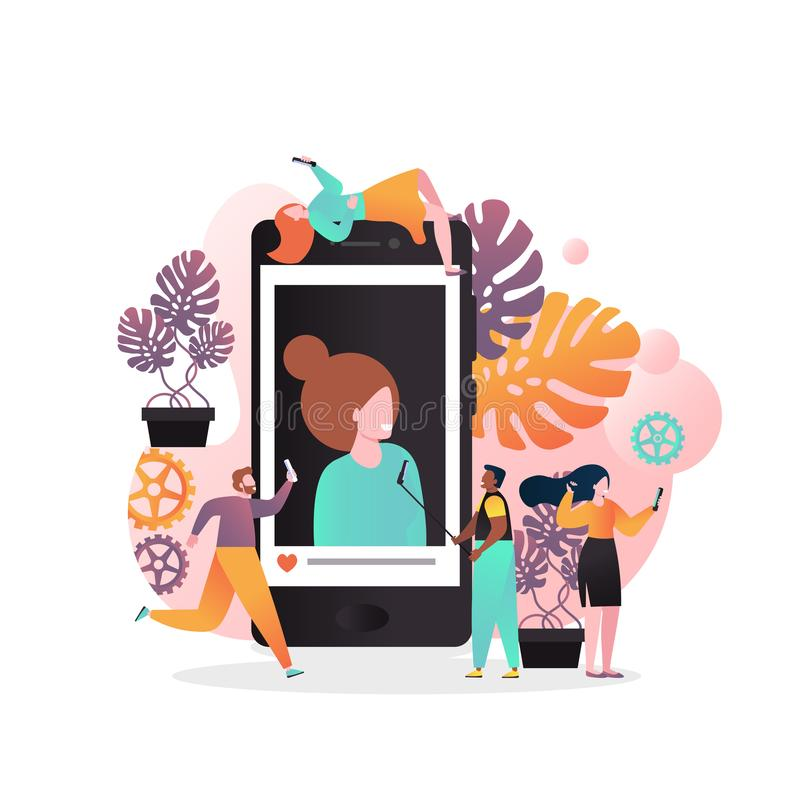 Selfie vector concept for web banner, website page stock illustration