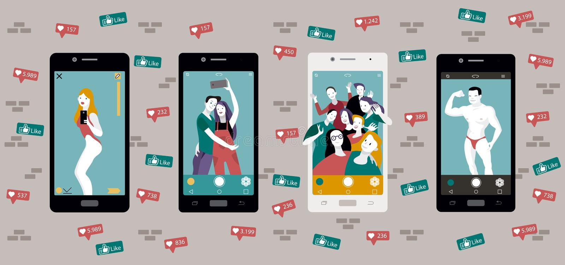 Selfie y medios sociales stock de ilustración