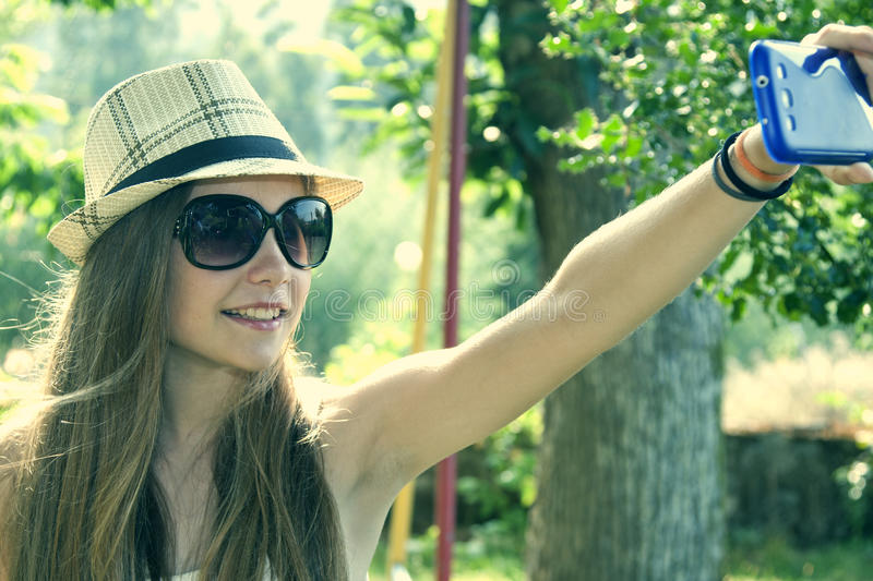 Selfie. Young becoming a selfie, lifestyles stock photos