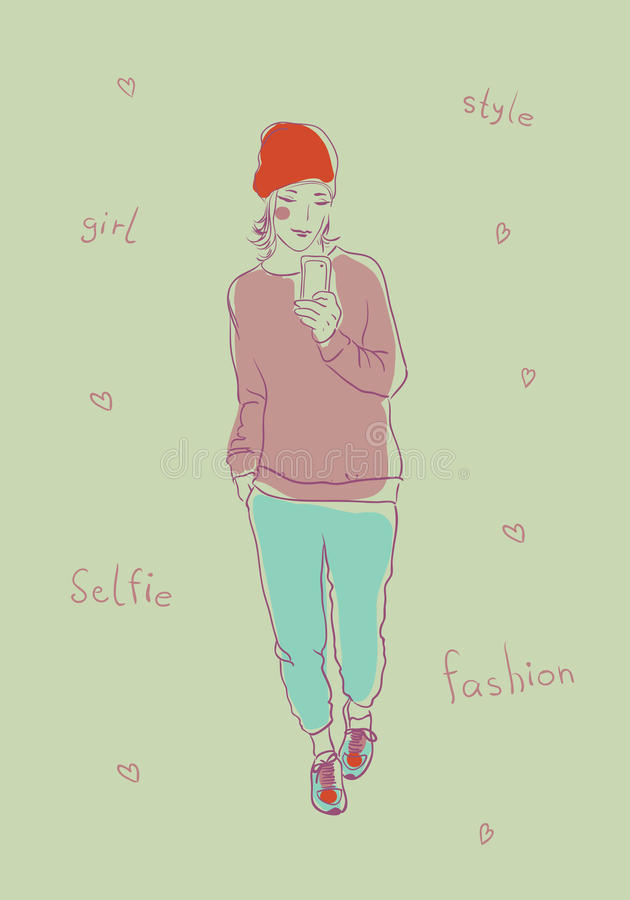 Download Selfie stock vector. Image of glamour, image, beautiful - 42359721