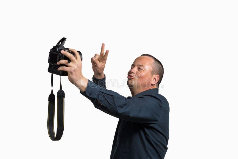 Selfie z dużą kamerą fotografia royalty free