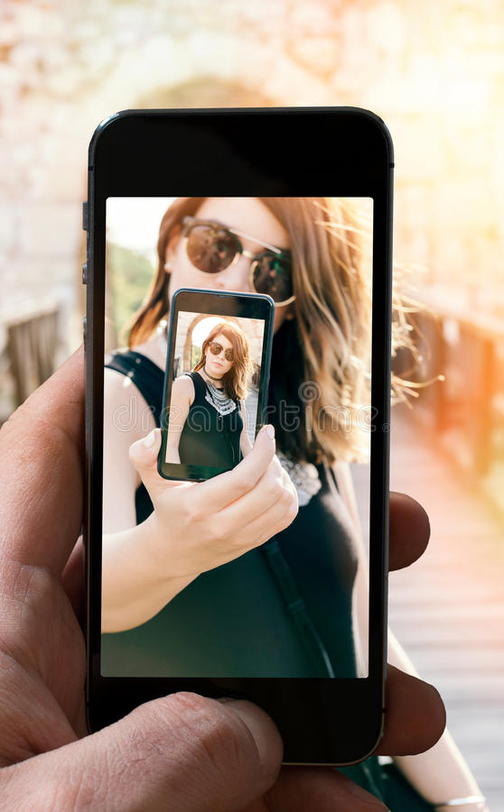Selfieconcept royalty-vrije stock afbeelding