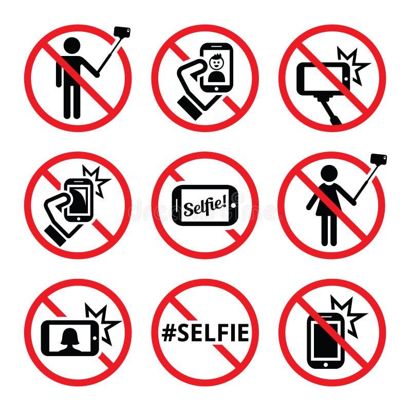 Selfies, aucun selfie ne colle pas des signes illustration libre de droits
