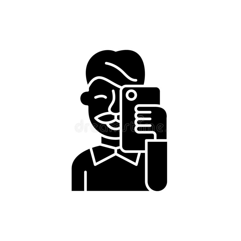 Selfies black icon, vector sign on isolated background. Selfies concept symbol, illustration royalty free illustration
