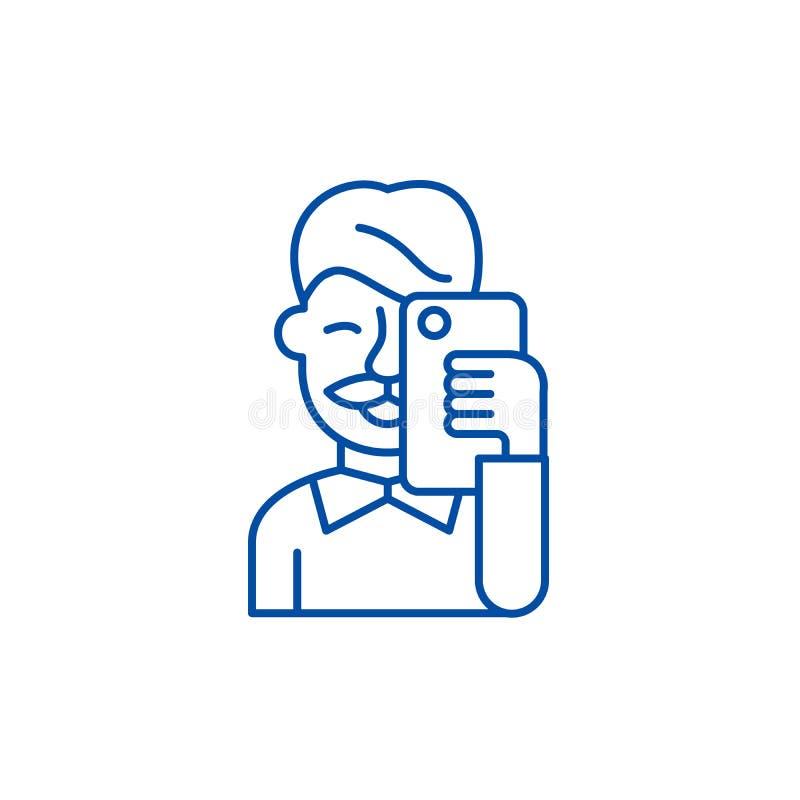 Selfies line icon concept. Selfies flat  vector symbol, sign, outline illustration. royalty free illustration